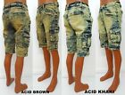Men's 22 oz HALIFAX acid wash brown khaki biker cargo shorts with zipper T3017