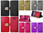 Kyocera Hydro Wave C6740 Diamante Glitter Leather Wallet Flip Cover+Screen Guard