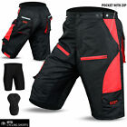 Cycling MTB Short Off Road Cycle Coolmax Padded Liner Shorts Red Size M, L, XL