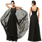 Women Applique Beaded Long Cocktail Prom Party Evening Ball Gown Formal Dresses