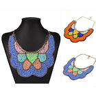 New Embroidery Beads Big Pendant Chain Choker Statement Bib Bohemia Necklaces