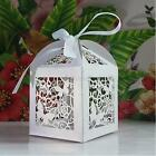 50 PCS Stereo Butterfly Paper Laser Cut Wedding Party Baby Shower Box+Ribbon F91