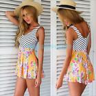 New Sexy Women Party V Neck Stripe Floral Divided Skirt Shorts Jumpsuit Playsuit