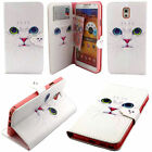 Fashion White Cat Flip Wallet Leather Card Case Cover Stand For Various Phones