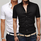 Mens Short Sleeve Tops Button Shirts Casual Slim Fit Summer Dress Shirt T-Shirts