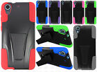 For HTC Desire 626 Hard Advanced HYBRID KICKSTAND Rubber Case +Screen Protector