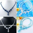 Strand Abacus Bicone Crystal Glass Bead Collar Necklace 18 Inches Women Jewelry