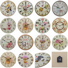Shabby Chic Large 34cm Thin Rustic Wall Clock Floral Flowers