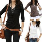 Womens Basic Elegant Summer T Shirt Fitted Tops Cotton Blouse Fashion Top Size