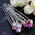 10x Pack Crystal Studded Faux Pearl Hairpin Hair Clip Bridal Wedding Jewelry Hot