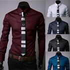 Mens Shirt Stylish Slim Fit Casual Shirts Plaids Dress Plus Size Shirts M-5XL