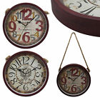 Retro Vintage Round 30cm Red Matte Finishing Iron Hanging Rustic Wall Clock