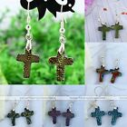 2pc Dichroic Foil Lampwork Glass Cross Eardrop Hook Earrings Womens Ear Jewelry