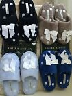 NEW Laura Ashley women slippers blue brown black white bow embossed warm winter