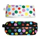 GIRLS POLKA DOTS PINK SPOT PEN PENCIL CASE PURSE WITH ZIP FOR  SCHOOL COLLEGE