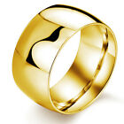 3 Colour Cool 11.5mm wide Stainless Steel Smooth Band Ring Women Men's Jewery
