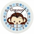 BLUE MOD MONKEY NURSERY WALL CLOCK PERSONALIZED BABY DECOR GIFT BOY ZOO