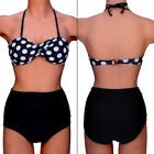 Vintage Womens High Waist Bikini Push Up Bra White Dots Swimwear Swimsuit FO