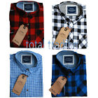 Mens Shirts Check Work Flannel Brushed Cotton Lumberjack Long Sleeve Casual