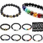 8mm Lava Rock Stone Bead Buddha Skull Hamsa Hand Charm Men Women Bracelet Bangle
