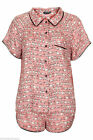 Ladies Topshop Cat Pyjamas Dusty Pink Shirt & Shorts Nightwear PJs Set