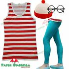 Ladies Red White Vest Top Leggings Hat Glasses Fancy Dress Costume Hen outfit
