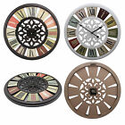 Shabby Chic Large 50cm Color Wheel Thin Rustic Wall Clock Roman Numerals