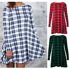 Autumn Women Crew Neck Casual Loose Tartan Dress Long Sleeve Warm Skating Dress
