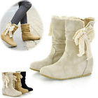 Women Winter Warm Midcalf Snow Boots Lace Bowknot Low Heel Flat Wedge Shoes