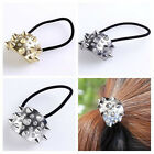 1PC Punk Cool Metal Crystal Rivet Hair Tie Cuff Wrap Ponytail Holder Stretchy