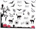 Nail Art 3D Decal Stickers Halloween Boo Bats Black Cats Scary Spider Webs TJ206