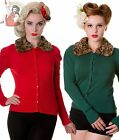 BANNED 50's faux FUR LEOPARD COLLAR CARDIGAN rockabilly FOREST GREEN & RED