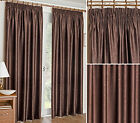 Embossed Pencil Pleat Tape Woven Thermal Blockout Curtains, Chocolate Brown