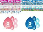 AGE 2 BIRTHDAY BANNERS BOY AND GIRL PARTY DECORATIONS FOR 2ND BIRTHDAY