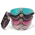 Pet Dog Cat Puppy Collar PU Leather Necklace Flower Crystal Rhinestone Size S/M