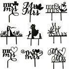 Acrylic Mr & Mrs Wedding Cake Topper Silhouette Cupcake Stand Party Favors Decor