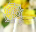 Pearlescent Spider web wedding favor mark wine glass cards table name card