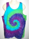 MENS TIE DYE DYED SUMMER FESTIVAL SINGLET HIPPY RAVE DOOF SIZES S M L XL XXL