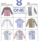 Misses Blouse Sewing Pattern Front Button Sleeve Vary Convertible Collar 7958