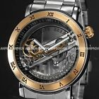 Steampunk Transparent Skeleton Mens Steel Roman Automatic Mechanical Wrist Watch