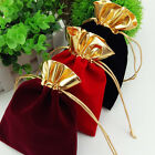 Golden Trim Drawstring Jewelry Pouches Velvet Gift Bags Wedding Favor black Red