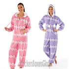 Ladies Fairisle Hooded Fleece Onesie All In One Size 8,10,12,14,16,18,20,22