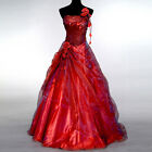2015 New Masquerade Attire Long Red Quinceanera Party Wedding Dress Ball Gowns