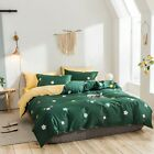 Reversible Color Double/Queen/King Bed Quilt/Duvet Cover/ Pillowcases Set Cotton