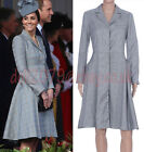 Winter Grey Checked Plaid Wool Cotton Blend Shirt Dress Coat Size 8 10 12 14 16