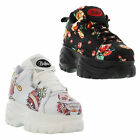New Buffalo 1339-14 Womens Black White Platform Trainers Boots Size UK 4-8