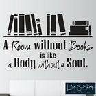 Wall Stickers Room Without Books Reading Quote Art Decals Vinyl Decor Room Home