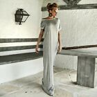 Fashion Cotton Polyester Women Long Maxi Casual Dress Sexy Grey Party Dresses