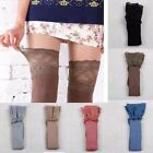 Women Knitting Cotton Lace High Socks Over Knee Thigh Stockings Pantyhose Tights