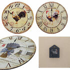 Shabby Chic Large 34cm Thin Rustic Wall Clock Rooster